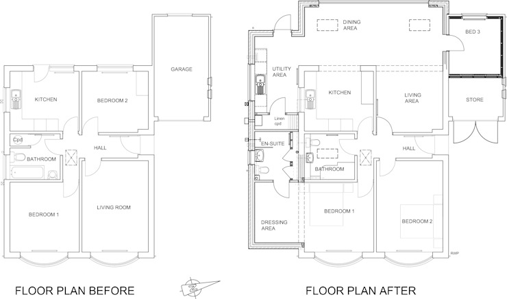 Before & After Floor Plans von JMAD Architecture (previously known as Jenny McIntee Architectural Design)