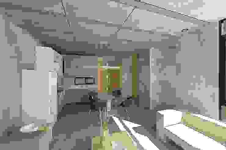 Vista Interior del Departamento 1 Salones eclécticos de HF Arquitectura Ecléctico Ladrillos