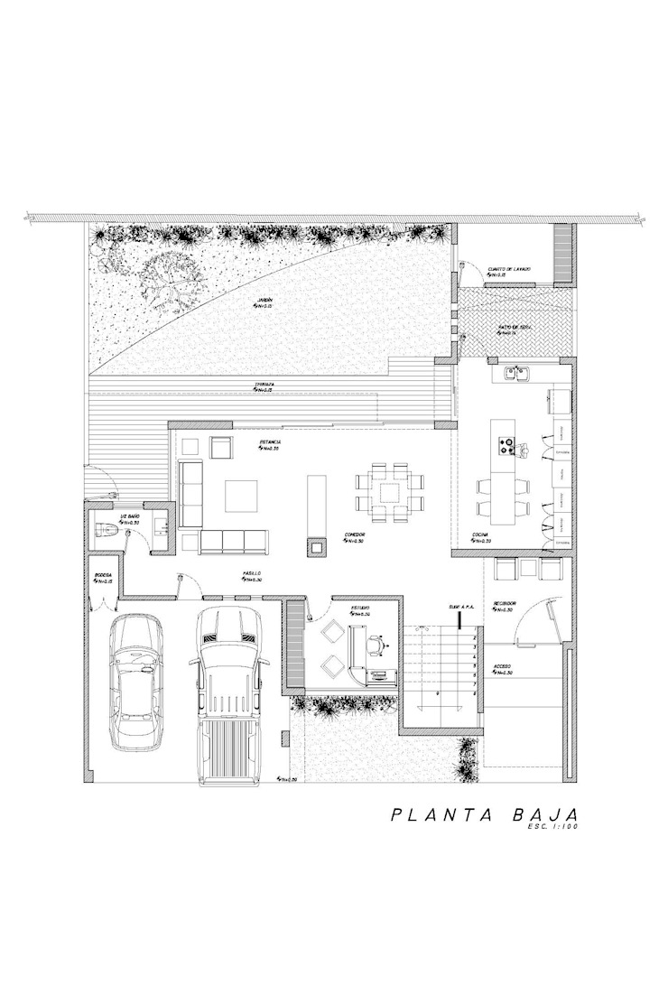 Planta Baja Casas minimalistas de HF Arquitectura Minimalista Concreto