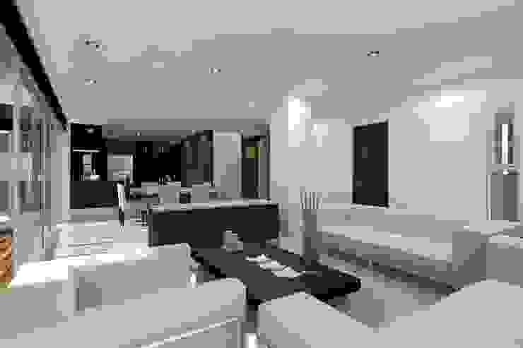 Vista interior de la Sala y Comedor Salones minimalistas de HF Arquitectura Minimalista Vidrio