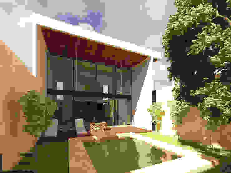 HABITACIONAL EL ROBLE II - ÁREA SOCIAL Casas modernas de LARA ESCALANTE ARQUITECTURA Y CONSTRUCCIÓN Moderno Madera Acabado en madera