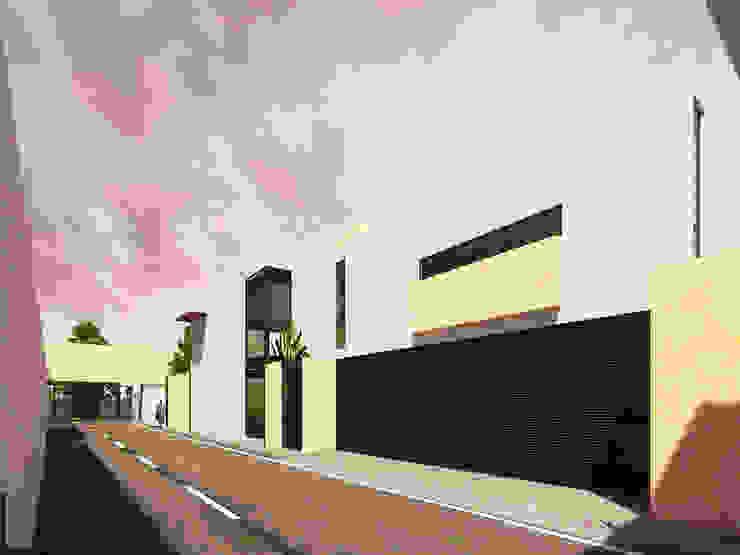 HABITACIONAL EL ROBLE II - ACCESO PEATONAL Casas modernas de LARA ESCALANTE ARQUITECTURA Y CONSTRUCCIÓN Moderno Aglomerado