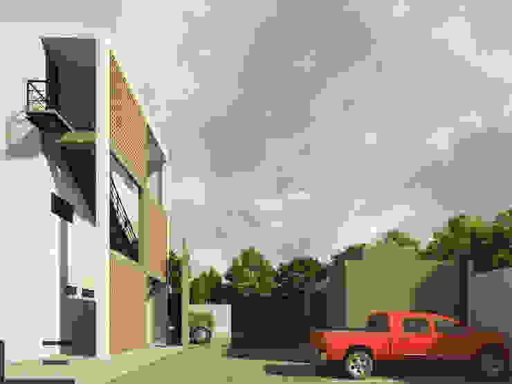 OFICINAS H - ACCESO Estudios y despachos modernos de LARA ESCALANTE ARQUITECTURA Y CONSTRUCCIÓN Moderno Aglomerado