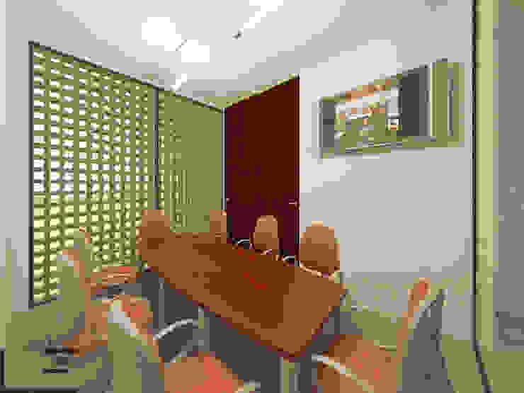 OFICINAS H - SALA DE JUNTAS Estudios y despachos modernos de LARA ESCALANTE ARQUITECTURA Y CONSTRUCCIÓN Moderno Aglomerado