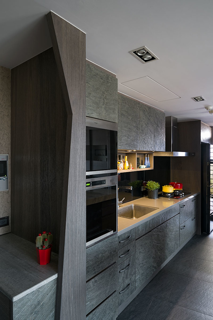 開放式廚房 現代廚房設計點子、靈感&圖片 根據 藻雅室內設計 現代風