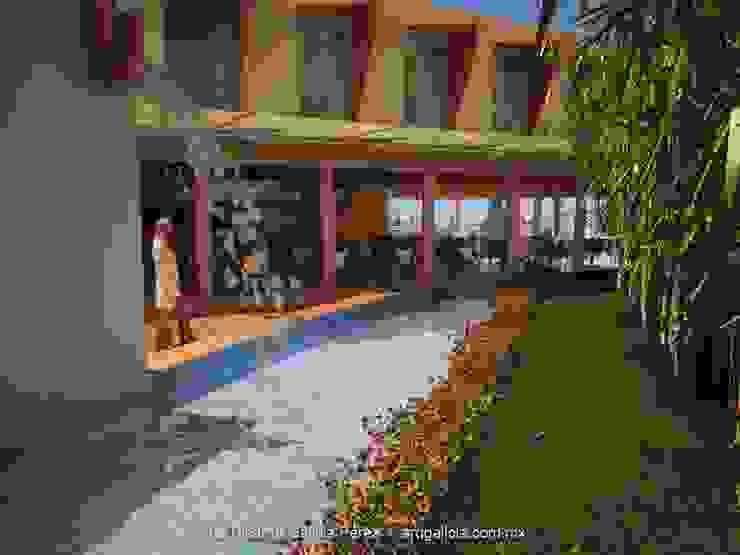Vista desde el Jardín Gastronomía de estilo moderno de GALICIA AV Arquitectura más Virtual Moderno