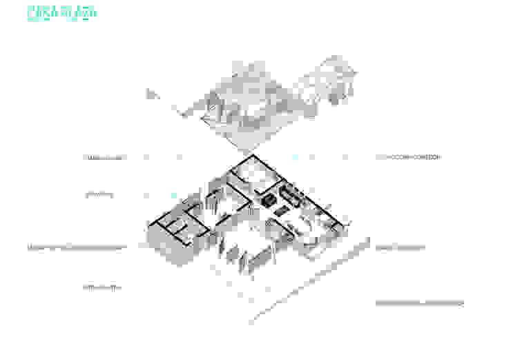Corte isometrico Casas de estilo minimalista de Taller de Desarrollo Urbano Minimalista