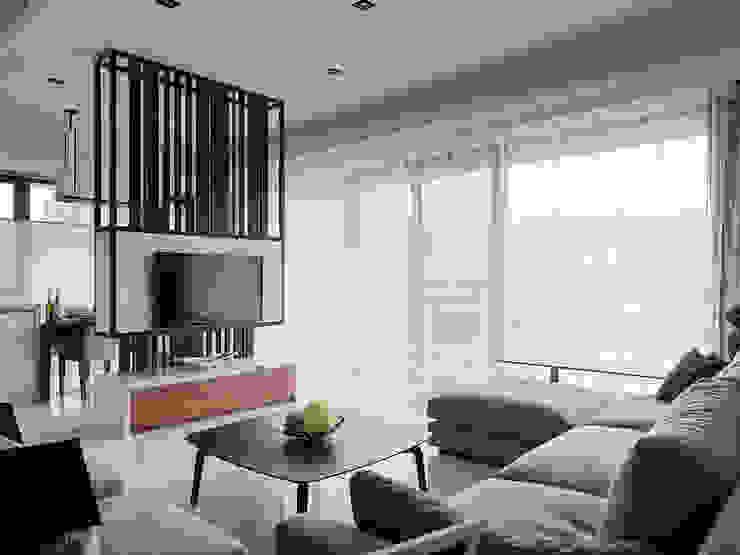 理性格局~感性生活自然蔓延 现代客厅設計點子、靈感 & 圖片 根據 大集國際室內裝修設計工程有限公司 現代風
