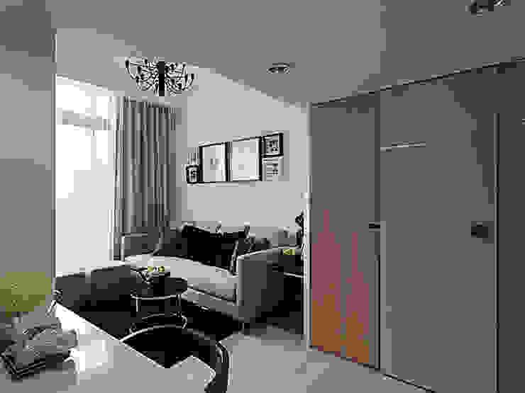 浪漫情挑紐約上城風:  客廳 by 大集國際室內裝修設計工程有限公司