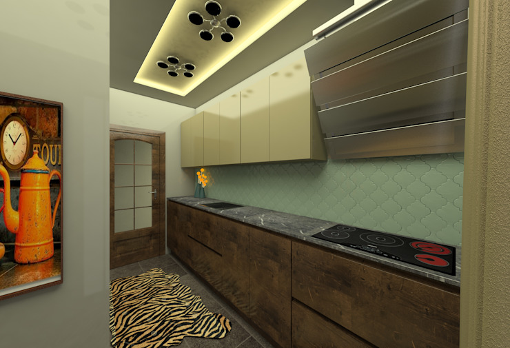 KONUT PROJESİ-MUTFAK Modern Evler Miapera MİMARLIK Modern Ahşap Ahşap rengi