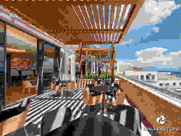 Immagine del Ristorante Portofino, situato a Paliouri, in una delle più belle coste della Grecia. Baldantoni Group Balcone, Veranda & Terrazza in stile moderno Legno Marrone