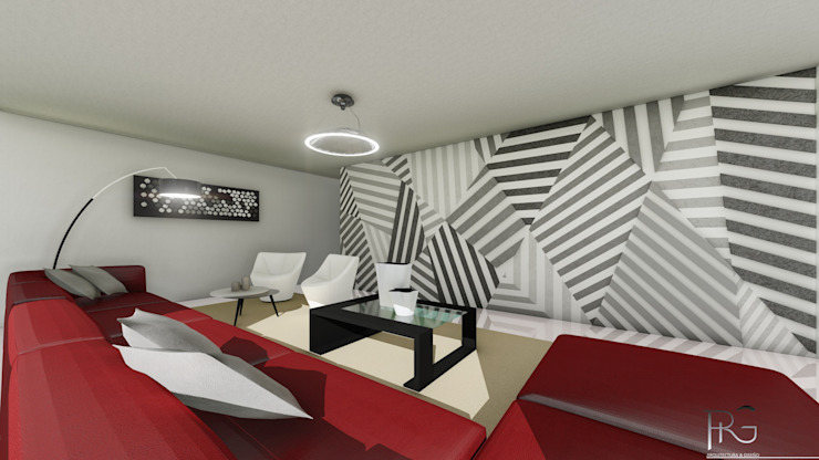Sala Salas de entretenimiento de estilo minimalista de PRG Arquitectura & Diseño Minimalista