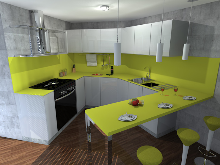 homify KitchenStorage Yellow
