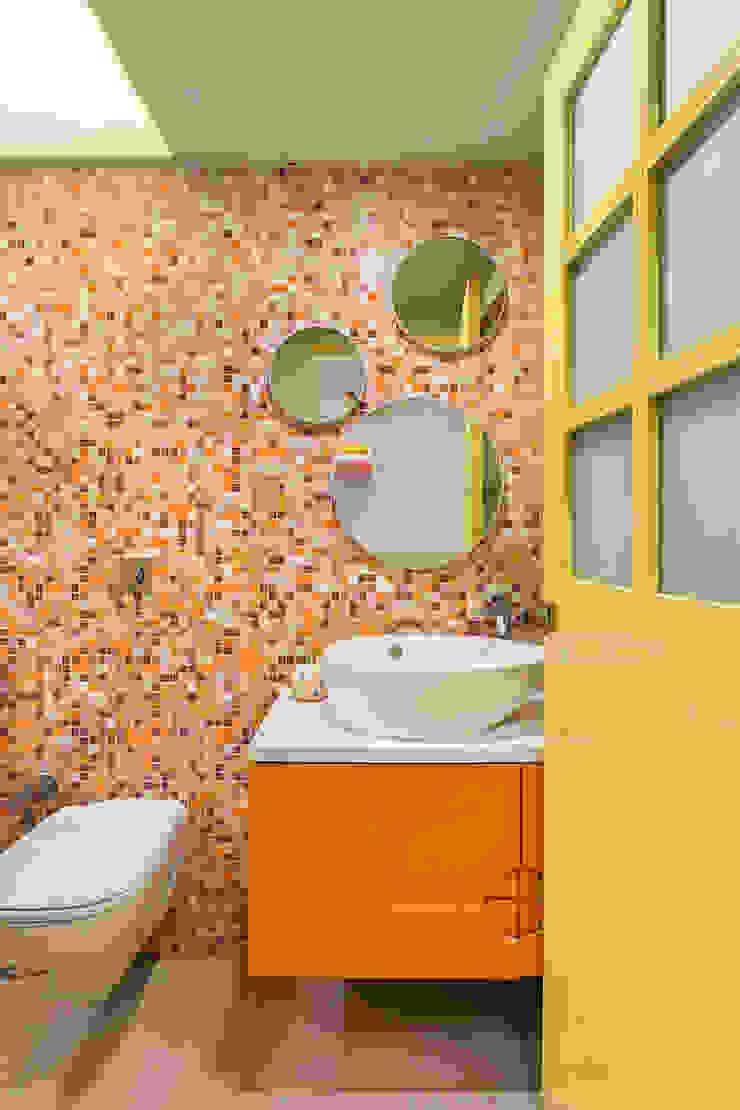 Colourful Wall-Tiled Washroom The design house Modern bathroom Tiles Orange