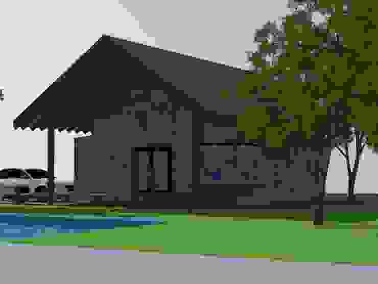 Fachada Principal Arquitectura y Construcción Chinquel Casas de estilo rústico Madera