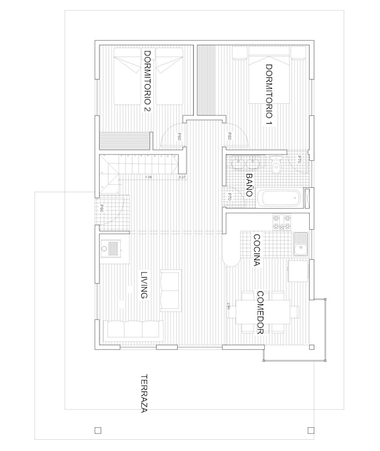 Planta 1 Arquitectura y Construcción Chinquel Comedores de estilo rústico Madera