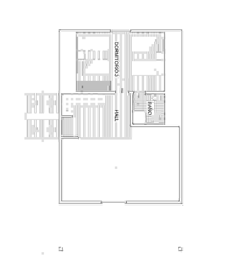 Planta 2 Arquitectura y Construcción Chinquel Dormitorios de estilo rústico Madera