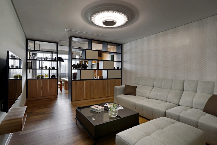 信美室內裝修 Livings de estilo moderno Blanco