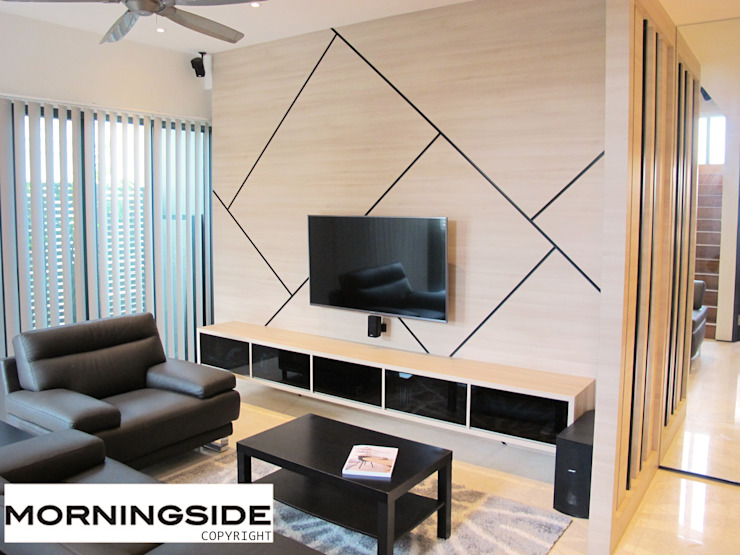 THOMSON ROAD PENTHOUSE CONDO UNIT Modern living room by MORNINGSIDE PTE LTD Modern Wood Wood effect
