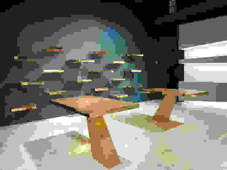 büro für interior design Modern commercial spaces Copper/Bronze/Brass Blue