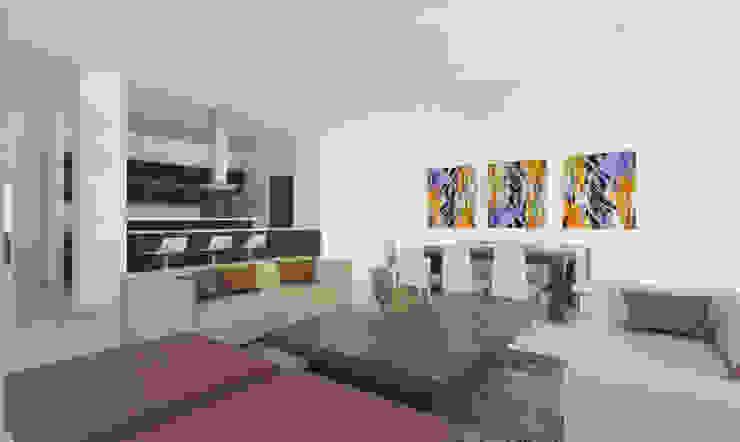Sala - Comedor -Cocina Salas modernas de Viewport - Servicio de renderizado Moderno Madera Acabado en madera
