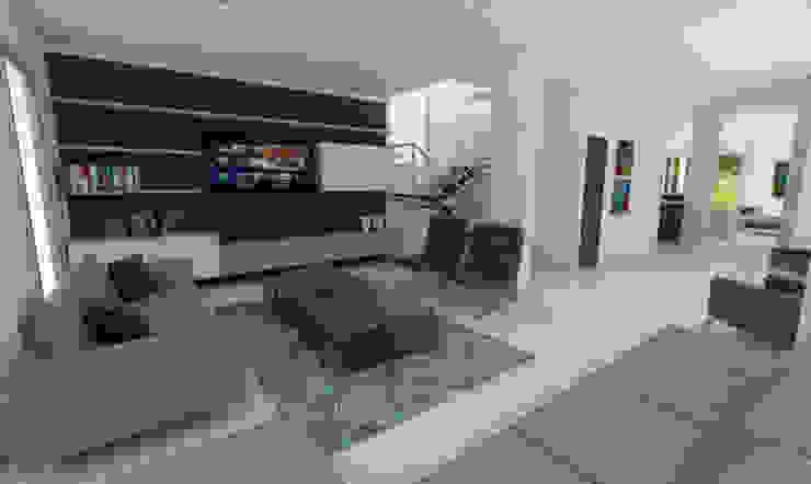 Sala de TV: Salas multimedia de estilo  por Viewport - Servicio de renderizado