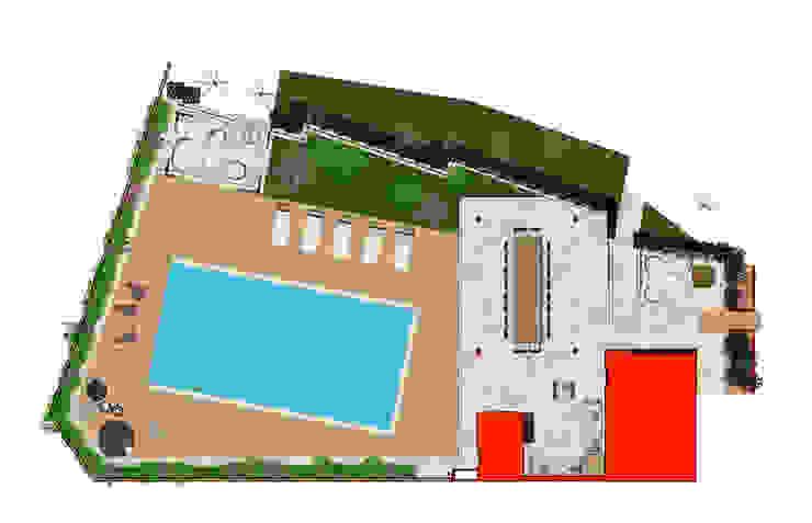 Flooring plan view Piscina in stile mediterraneo di Planet G Mediterraneo