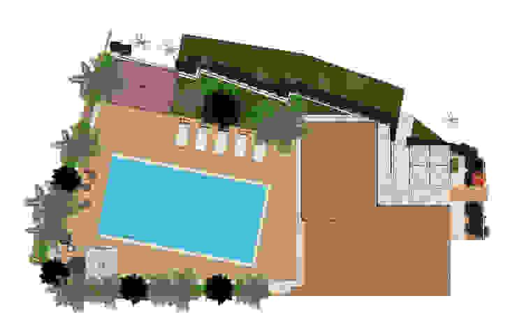 Roofing plan view Piscina in stile mediterraneo di Planet G Mediterraneo