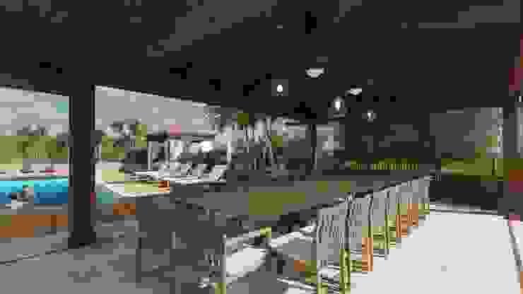 View of the outdoor dining area Giardino d'inverno in stile mediterraneo di Planet G Mediterraneo