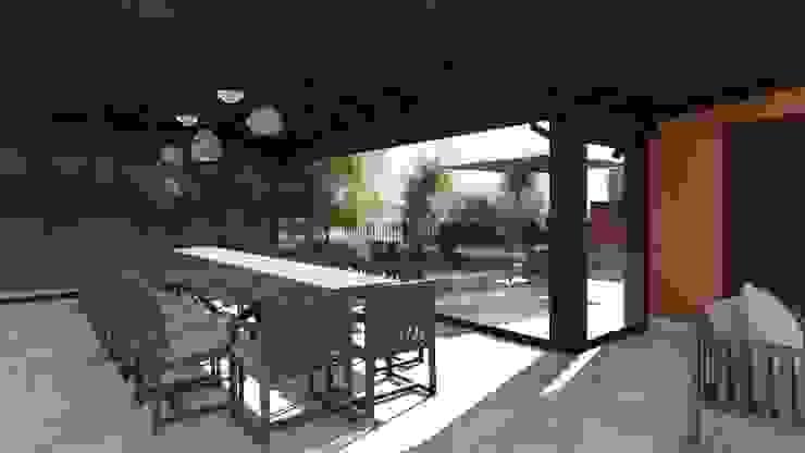 The dining area in the wooden gazebo closed by folding windows Giardino d'inverno in stile mediterraneo di Planet G Mediterraneo