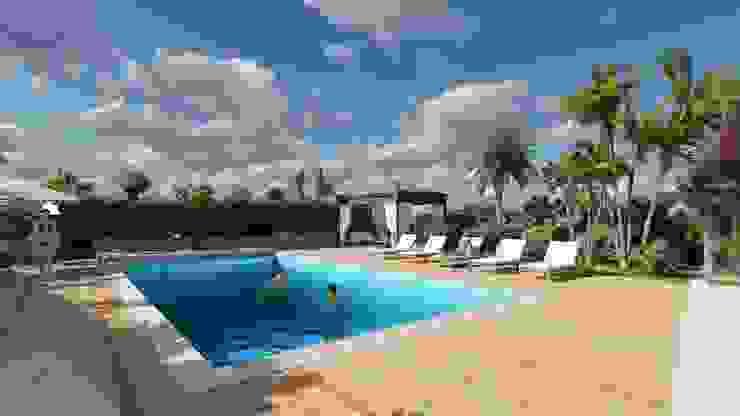View of the swimming pool area Piscina in stile mediterraneo di Planet G Mediterraneo