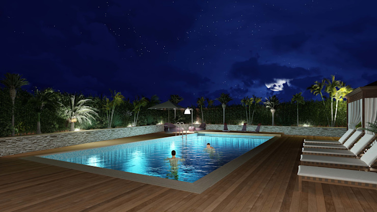 Night view of the swimming pool area Piscina in stile mediterraneo di Planet G Mediterraneo