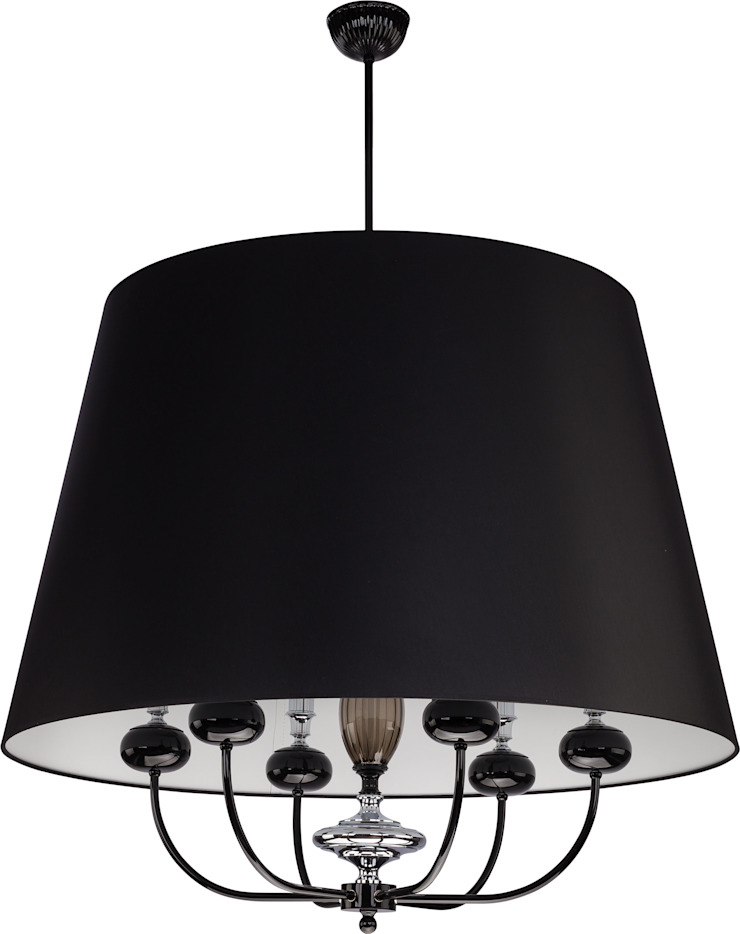 Narni Black Single Pendant Ceiling Lighting with 6 Lights Glass and Chrome elements 現代風玄關、走廊與階梯 根據 Luxury Chandelier 現代風 銅/青銅/黃銅