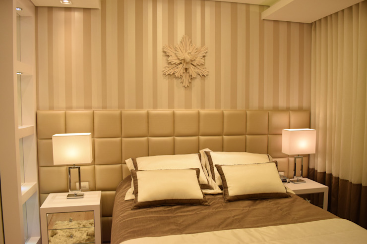 Quarto de Casal Contemporâneo DecaZa Design Modern Bedroom MDF Beige