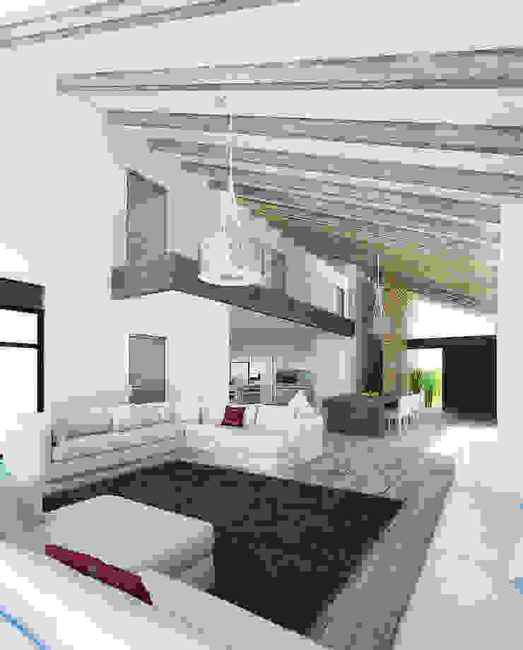 6. CASA JALISCO Salones modernos de TARE arquitectos Moderno