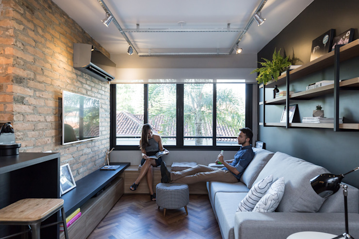 K+S arquitetos associados Industrial style living room
