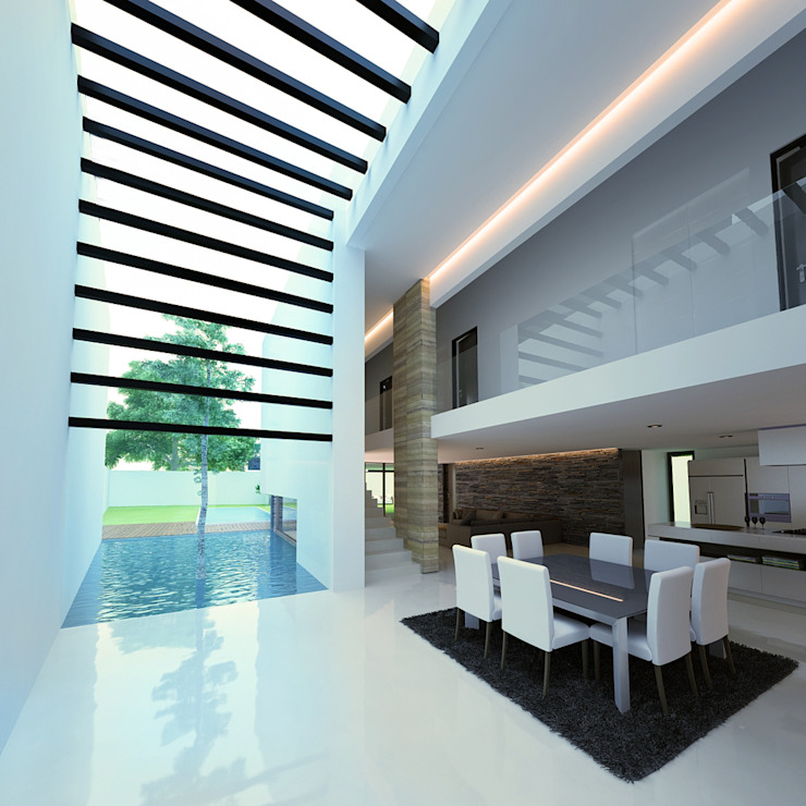 13. CASA AM Salones modernos de TARE arquitectos Moderno