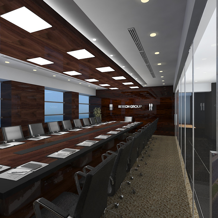 Board room Modern office buildings by Gurooji Designs Modern