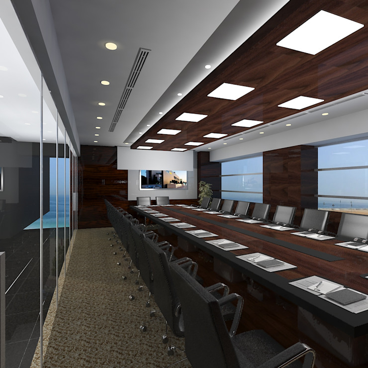 Board room Modern offices & stores by Gurooji Designs Modern