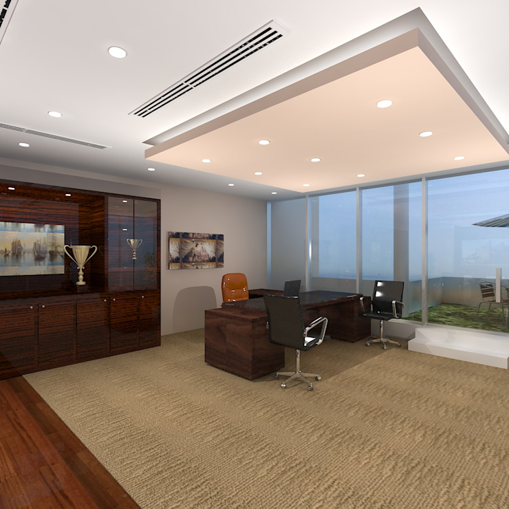 CEO Office Modern office buildings by Gurooji Designs Modern