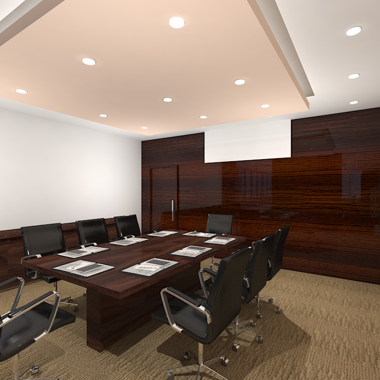 Meeting Room Modern office buildings by Gurooji Designs Modern