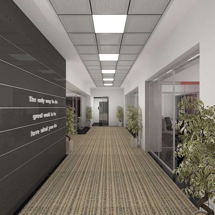 Corridor Modern office buildings by Gurooji Designs Modern
