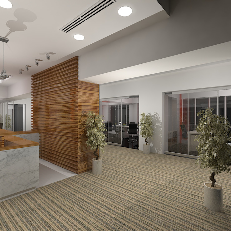 Reception Lobby Modern office buildings by Gurooji Designs Modern