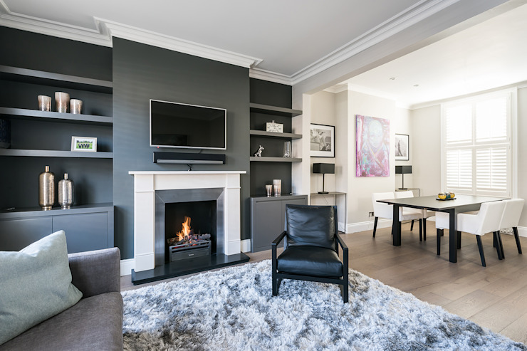 Disraeli Road, Putney:  Living room by Grand Design London Ltd, Modern