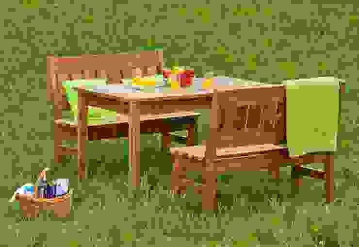 Set da giardino Tavolo + 2 Panche di ONLYWOOD Classico Legno massello Variopinto