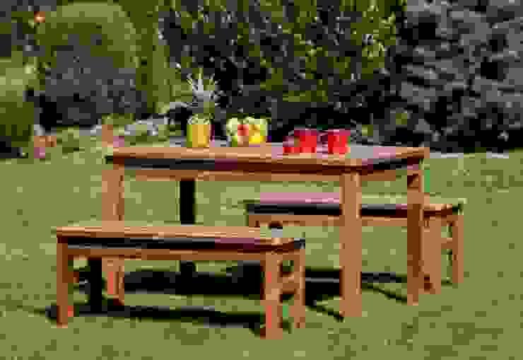 Set da giardino Tavolo + 2 Panche senza schienale di ONLYWOOD Classico Legno massello Variopinto