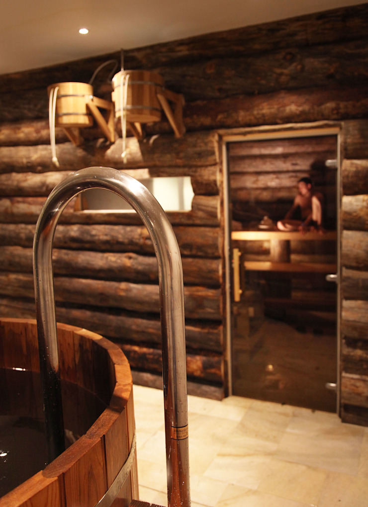 Steam room and wet zone Natalia Interior Design Steam Bath Wood Wood effect