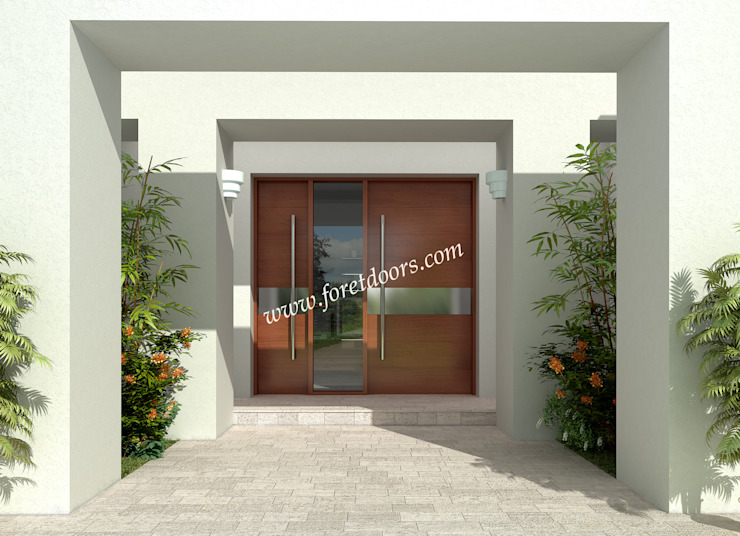 Modern front entry door with horizontal stainless steel stripe.: modern  by Foret Doors, Modern Solid Wood Multicolored