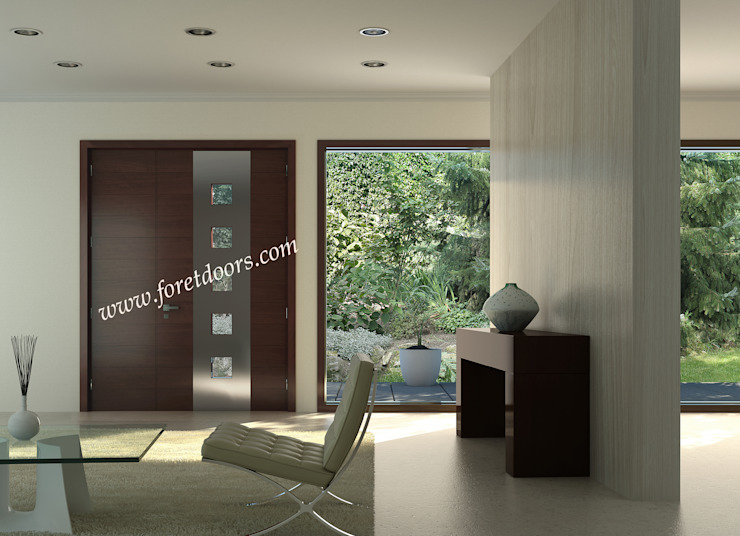 Modern solid wood door with windows and vertical stainless steel strip: modern  by Foret Doors, Modern Slate