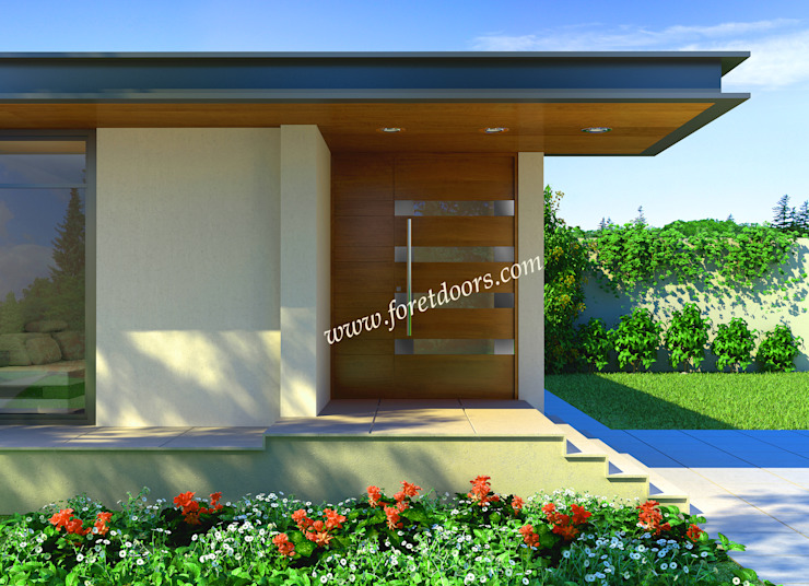 Modern entry door with horizontal window and stainless steel accents: modern  by Foret Doors, Modern Solid Wood Multicolored